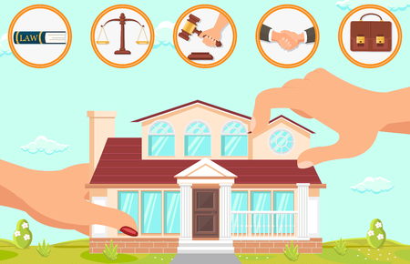 Vector Flat Illustration Structure in Law Firm. Large Female Hands Hold Building on Background Blue Sky and Green Grass. Lawyer Office Icons Law Scales Hand Judges Hammer Handshake Briefcase. Illustration