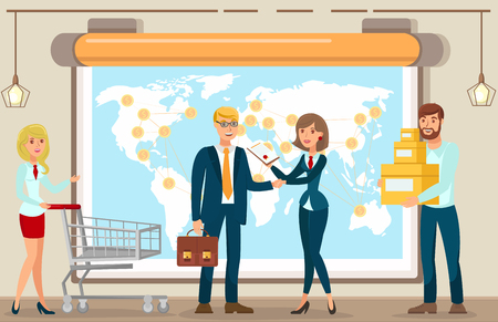 Vector Flat Woman Shopping with Woman Shopping Cart Guy Boxes Goods Services. Man Briefcase Shakes Hands Signing Contract Put Signature Stamp in Document. Payment Worldwide Dollars Currency.