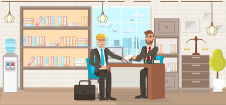 Vector Flat Law Firm Consumer Protection Services. Lawyer Helps Client Fill Out Document Signing and Stamping Office. Study Room with Books Young Guy in Suit with Briefcase Man With Glasses