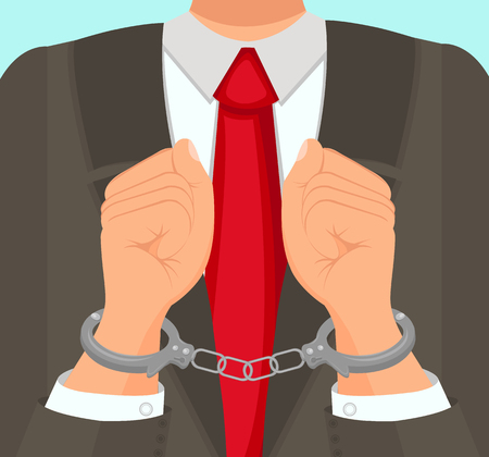 Flat Vector Illustration in Foreground Man in Suit Hands in Handcuffs. An Official in Business Suit and Tie is Placed in Custody at Workplace. Preventive Measure Imprisonment Man in Handcuffs. Çizim
