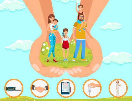 Flat Vector Illustration Legal Assistance in Matters Adoption Children. In Foreground Large Hands Hold Happy Young Family with Children Against Blue Sky. Man and Woman Rejoice in Life with Children. Иллюстрация