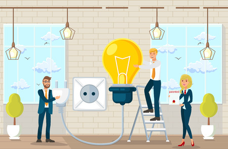 Flat Vector Illustration Making Suggestions and Ideas in Law Office. Joint Work Space in Law Office Young Happy Man and Woman in Modern Business Suits Plug Large Yellow Lamp into Outlet.