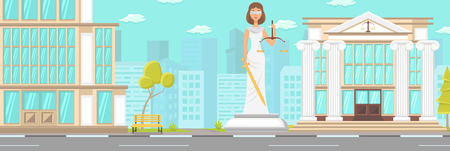 Vector Flat Building Facade Court Statue Downtown. Blindfolded Woman with Sword in Hands with Libra. City Square Modern City Big Monument Next Building and Good Weather and Green Tree.