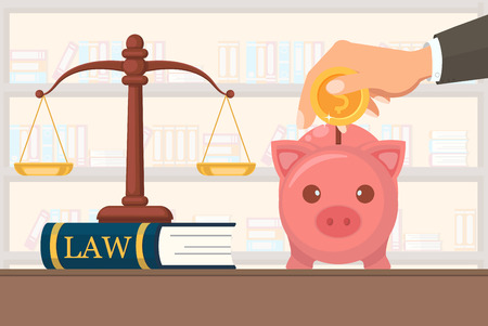 Flat Vector Illustration Payment Legal Services. On Judge Together Equal Scales Stand on Book with Inscription Law. Hand in Business Suit Puts Gold Coin with Dollar Symbol in Pig Bank.