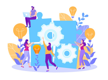 Cartoon Flat Teamwork. Search for Ideas. Small People and Collect Puzzle. Gears are Spinning and Light. Man is Sitting on Top with Laptop. Girl Shows Solution. Approach Solving Complex Problems. Illustration