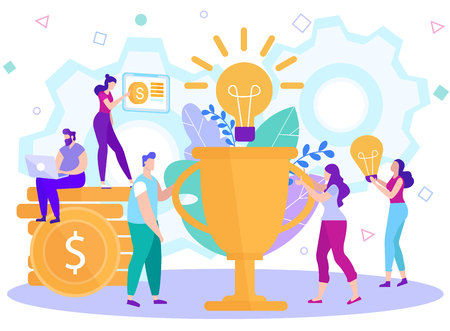 Cartoon Flat Generation New Business Creation Ideas. Success Receiving Award Creative. Man and Girl Holding Big Goblet on Top Light Bulb. Woman in Red Dress is Holding Decision. Man Sitting on Money. Illustration