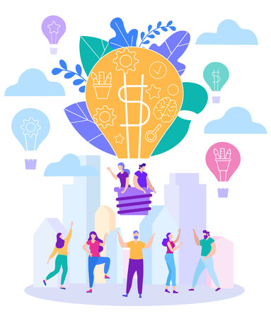 Cartoon Flat Little Men Guy with Girl in Balloon Fly Sky. Big Light Bulb Creation Business Ideas Converter Generation. People Dance Gears Approach Solving Complex Problems on Teamwork. Illustration