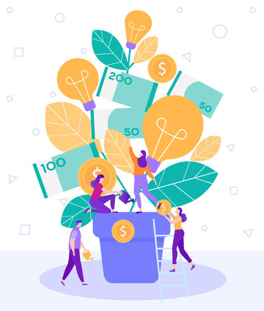 Cartoon Flat Little People Water Flower Tree Pot. Teamwork Search Fresh Interesting Ideas Generation Converter Creation Business. On Bush with Leaves Hang Coin and Light Bulbs Burning. Illustration