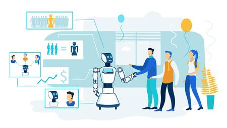Elaborazione di intelligenza artificiale del robot. Persone che incontrano umanoide. Saluto con il braccio e parlando con la macchina. Android Studio e comunicazione al College Lab. Intelletto informatico elettronico.