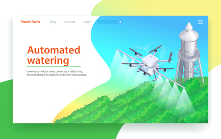 Automated Watering. Autonomus Field Irrigation by Drone Robot. Isometric Agriculture Plantation Illustration. Ecological and Organic Gardening. Robot Equipment Technology. Smart Farm. Иллюстрация