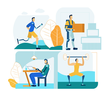 People with Prosthesis in Work and Life. Professional Bionic Innovation Technology for Lifestyle Activity Rehabilitation. Special Mechanical Exoskeleton for Weight Distribution. Flat Illustration Set. Illustration