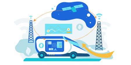 Self Driving Car. Artificial Intelligence Vehicle. Driverless Autonomus Robot Technology with Gps System. Futuristic Autopilot Navigation Control. Automotive Transport with Radar Sensor.