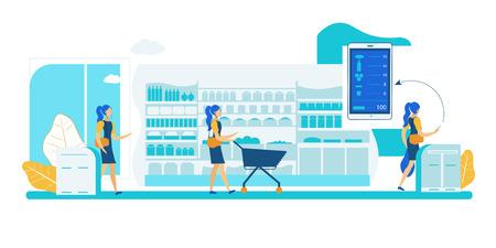 Boutique de paiement d'applications en libre-service. Technologie Smart Shelf Sensor Vision. Détection automatique des achats et interaction avec les applications smartphone. Boutique de système de surveillance de suivi de scanner sans caissier. Vecteurs