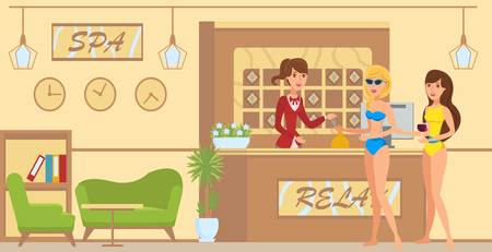 Hotel reception flat vector illustration. Lobby interior design. Receptionist giving key. Two girlfriends at sea resort and spa. Female holidaymakers cartoon characters. Summer vacation banner concept