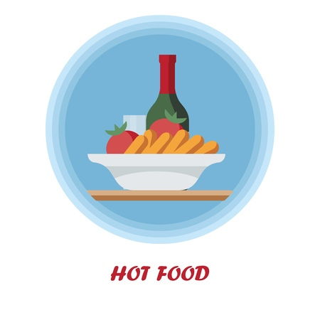 First course flat vector illustration. Hot food with alcohol drink. Catering serving. Dinner, supper food. Cartoon plate with tomatoes and sausages. Restaurant, cafe, cafeteria menu isolated clipart