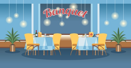 Banquet room, hall flat vector illustration. Restaurant, event center interior design. Cartoon served tables with calligraphy lettering. Catering service poster, banner, website page concept