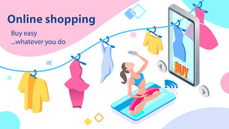 Woman Doing Sports. Buy Easy with Mobile App. Girl Buying Clothing with Card. Online Shopping Concept. E-Commerce. Internet Store in Smartphone. Marketing and Consumerism Concept. Vector EPS 10. 일러스트
