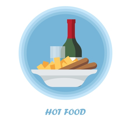 Hot food flat vector illustration. Catering serving. Dinner, supper dish. Meal preparation, cooking. Wine bottle with potato, sausages on plate. Restaurant, cafe, bistro menu cartoon isolated clipart