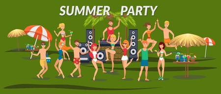 Summer party banner flat template. Sea resort. Young people in swimsuits dancing, listen to music on beach. Teenage holidaymakers, tourists cartoon characters. Beach time illustration with lettering Standard-Bild - 124753782