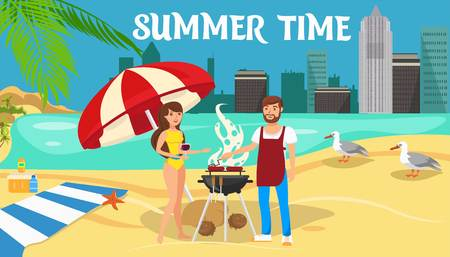 Summer time activities banner cartoon vector design concept. Romantic couple rest. Outdoor recreation. Man grilling sausages. Lovers flat characters. Beach picnic, barbecue. Weekend color illustration