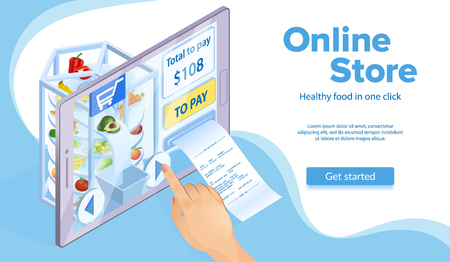 Online Food Shopping Concept. Hand Clicks Buy. Price and Paper Receipt Check. E-Commerce and Marketing. Buy with Mobile App. Internet Store in Tablet. Virtual Online Store. Isometric Vector EPS 10. Иллюстрация
