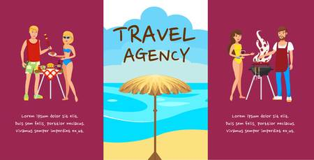Travel agency banner cartoon vector design concept. Romantic couple rest. Outdoor activities. Lovers flat characters with hand drawn lettering. Beach picnic, barbecue. Summer holidays illustration  イラスト・ベクター素材
