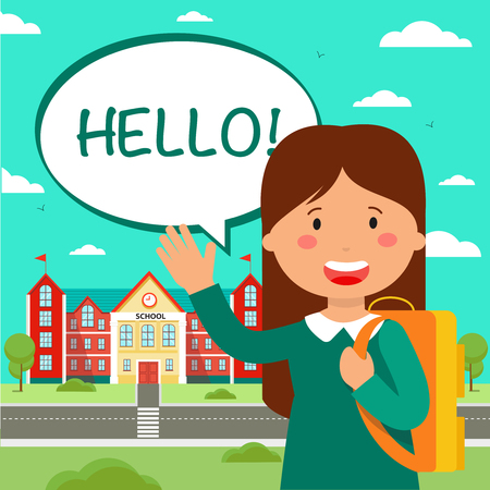 School education poster flat illustration. Schoolgirl waving hello. Schoolchild cartoon character. Back to school. Girl with backpack and speech bubble. Day of knowledge banner, greeting card idea