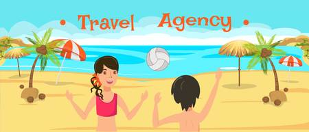Travel agency banner flat vector design template. Sea resort activities. Couple play beach volleyball. Holidaymakers, tourists have fun cartoon characters. Summer vacation illustration with lettering