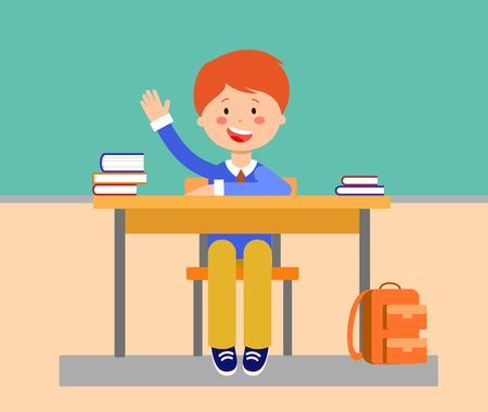 School lesson flat vector illustration. Student raising, putting up hand for answer. Schoolboy, cartoon character. Schoolkid sitting at desk with books, backpack. Elementary school education concept Çizim