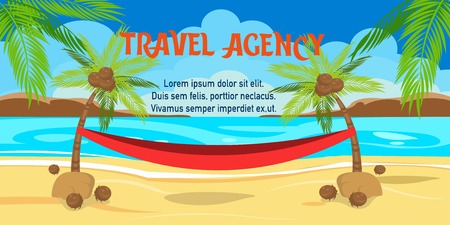 Travel agency flat horizontal banner with text. Tropical island paradise resort. Palm, sea, beach, hammock. Cartoon shore, coast relax. Summer vacation poster vector illustration with lettering Ilustrace