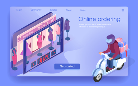 Courier Delivers Order by Motorbike. Boxes from Clothing Shop. Fashion Showcase in Tablet. Fast Delivery Service. Online Ordering. E-Commerce. Buy Button on Landing Page. Isometric Vector EPS 10.