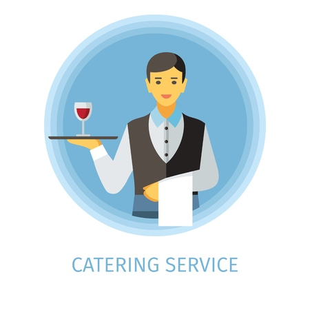 Waiter flat vector character. Catering service cartoon illustration. Man holding serving tray with glass of wine, napkin. Butler, servant clipart. Cafe, restaurant, bar isolated design element 스톡 콘텐츠 - 124573949