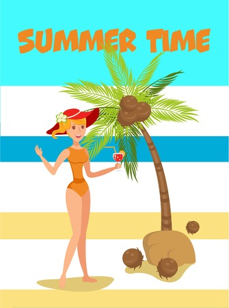 Summertime cartoon vector illustration. Paradise resort. Beach rest activity. Girl standing and drinking cocktail. Holidaymaker, tourist flat character. Summer vacation poster, banner design concept