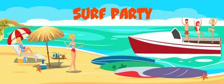 Surf VIP party banner flat vector template. Luxury sea resort. Young people in swimsuits with surfboards on ocean beach, yacht. Surfers have fun characters. Summer time illustration with lettering