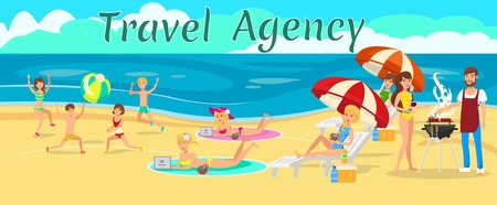 Family vacation with kids cartoon vector banner template. Get together. Beach picnic, barbecue. Man grilling sausages, women sunbathing, children play. Travel agency color illustration with text