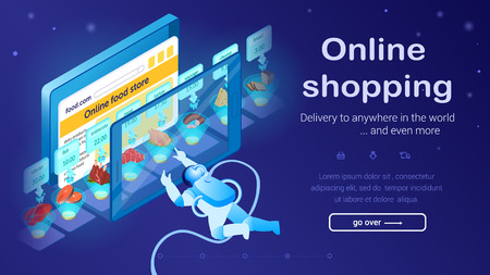 Astronaut Buys Food with Tablet. Fast Delivery Concept. Online Food Store. Online Shopping. Small Cosmonaut Clicks on Large Screen. Buy with Mobile App. Internet Store. Landing Page. Vector EPS 10.