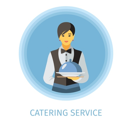 Waitress flat vector character. Catering service illustration. Woman holding serving tray with lid. Butler, servant, waiter clipart. Luxury cafe, restaurant, bar isolated cartoon design element