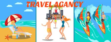 Sea resort activities vector banner flat template. Summertime. Windsurfing, party, relax on ocean beach. Tourists, holidaymakers have fun cartoon characters. Travel agency illustration with lettering