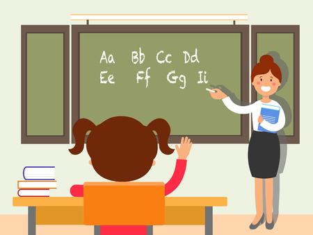 School english language lesson flat illustration. Schoolgirl putting up, raising hand for answer. Teacher standing near blackboard cartoon character. Classroom interior. Elementary school education