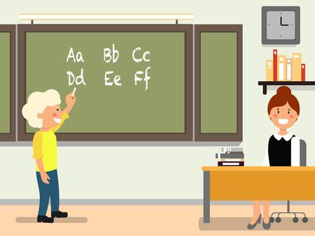 School language lesson flat vector illustration. Student answering near blackboard. Schoolboy, schoolchild and teacher cartoon characters. Classroom interior. Elementary school education concept