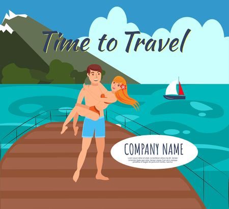 Honeymoon vacation flat illustration. Cruise, voyage. Time to travel lettering. Honeymoon. In love couple, just married cartoon characters. Journey, trip on yacht. Travel agency banner, poster design Banque d'images - 124330031