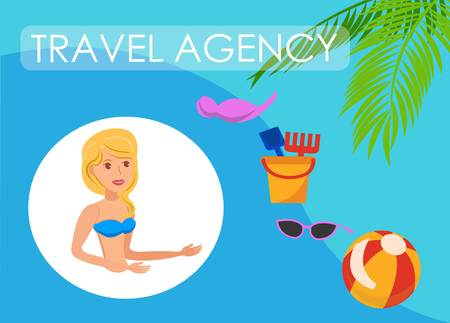 Travel agency banner flat layout template. Sea resort activities for adults, children. Woman telling about trip, journey. Swimsuit, kid toys, sunglasses cliparts. Summer vacation illustration