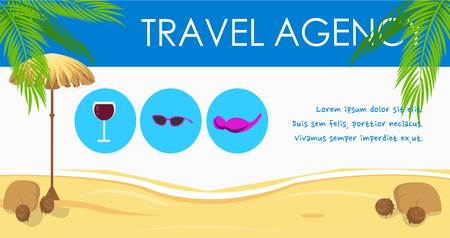 Travel agency banner flat design template. Island sea resort advertising horizontal poster. Trip, journey. Beach activities cartoon cliparts with text. Summer vacation illustration with lettering
