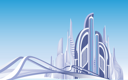 Futuristic Town. Urban View. Skyscrapers. Modern Architecture. Towers and Buildings Exterior. Blue Sky Background. Daytime Cityscape. Bridge to City District. Metropolis Infrastructure. Vector EPS 10.