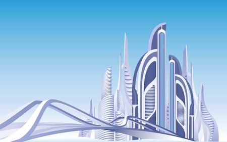 Futuristische Stadt. Stadtansicht. Wolkenkratzer. Moderne Architektur. Türme und Gebäude außen. Hintergrund des blauen Himmels. Stadtbild tagsüber. Brücke zum Stadtteil. Infrastruktur der Metropole. Vektor-EPS 10.