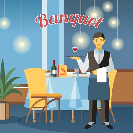 Banquet hall flat vector illustration. Restaurant interior design with calligraphy lettering. Catering service. Event center. Waiter hold tray with wine glass cartoon character. Served table drawing Stock Illustratie