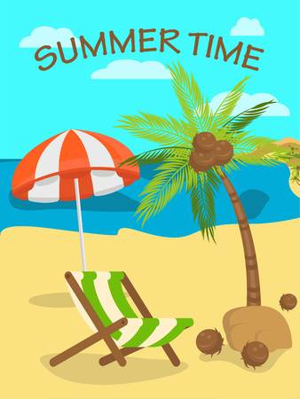Summer time flat vector color illustration with lettering. Tropical island paradise resort. Palm, sea, beach umbrella and deck chair composition. Shore, coast. Travel agency poster, banner design idea