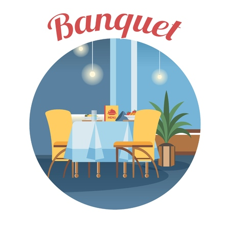 Banquet room, hall flat vector illustration. Restaurant, event center interior design round clipart. Cartoon served table with calligraphy. Holiday catering service poster, banner, website concept