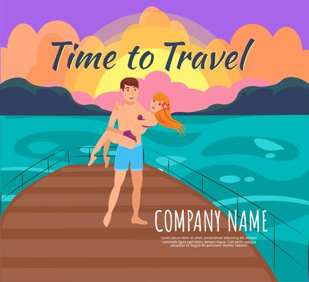Summer romantic vacation flat vector illustration. Cruise. Time to travel lettering. Honeymoon. In love couple, just married cartoon characters. Sunset on yacht. Travel agency banner, poster design