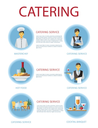 Catering service poster flat template. Cartoon waiters, barmen, chef cook and dishes with text. Staff, banquet halls, menu descriptions. Restaurant, cafe, cafeteria web banner, brochure, article idea 向量圖像